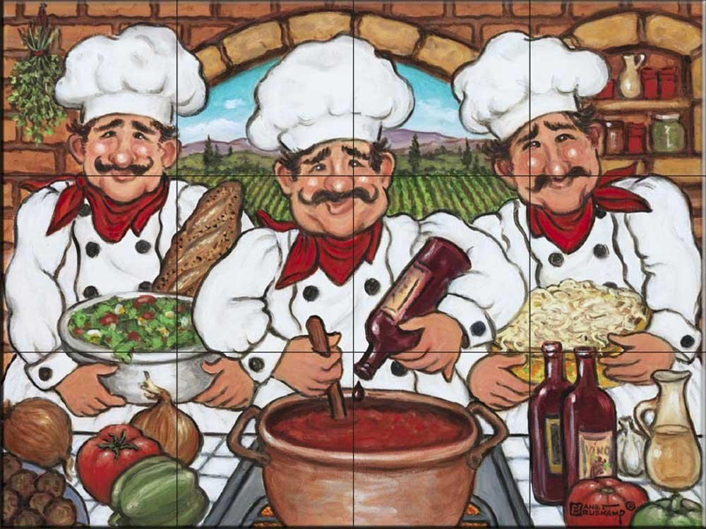 Ceramic Tile Mural - Three Happy Chefs - by Janet Kruskamp - Kitchen backsplash/Bathroom shower