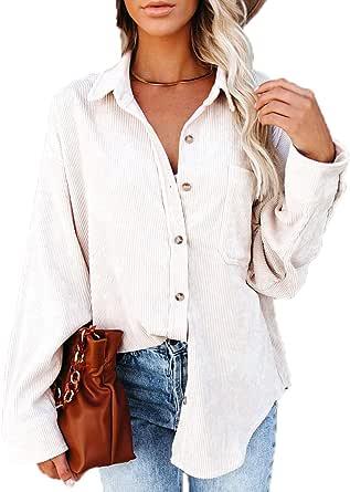 Camisa de Pana para Mujer Abrigos Blusas con Botones de Manga Larga Tops con Bolsillos