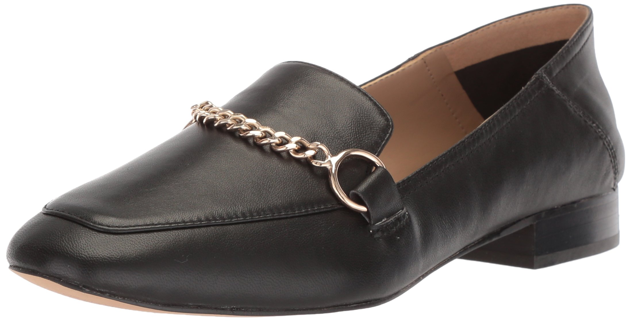 The Fix Women's Darien Chain Detail Collapsible Loafer Flat, Black Leather, 11 B US