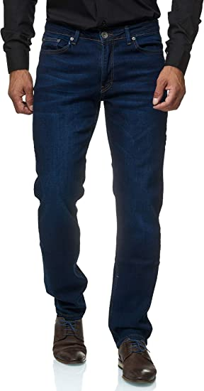 Jeans-Hose Basic Washed Regular Straight Cut Jeel Herren-Jeans Stretch
