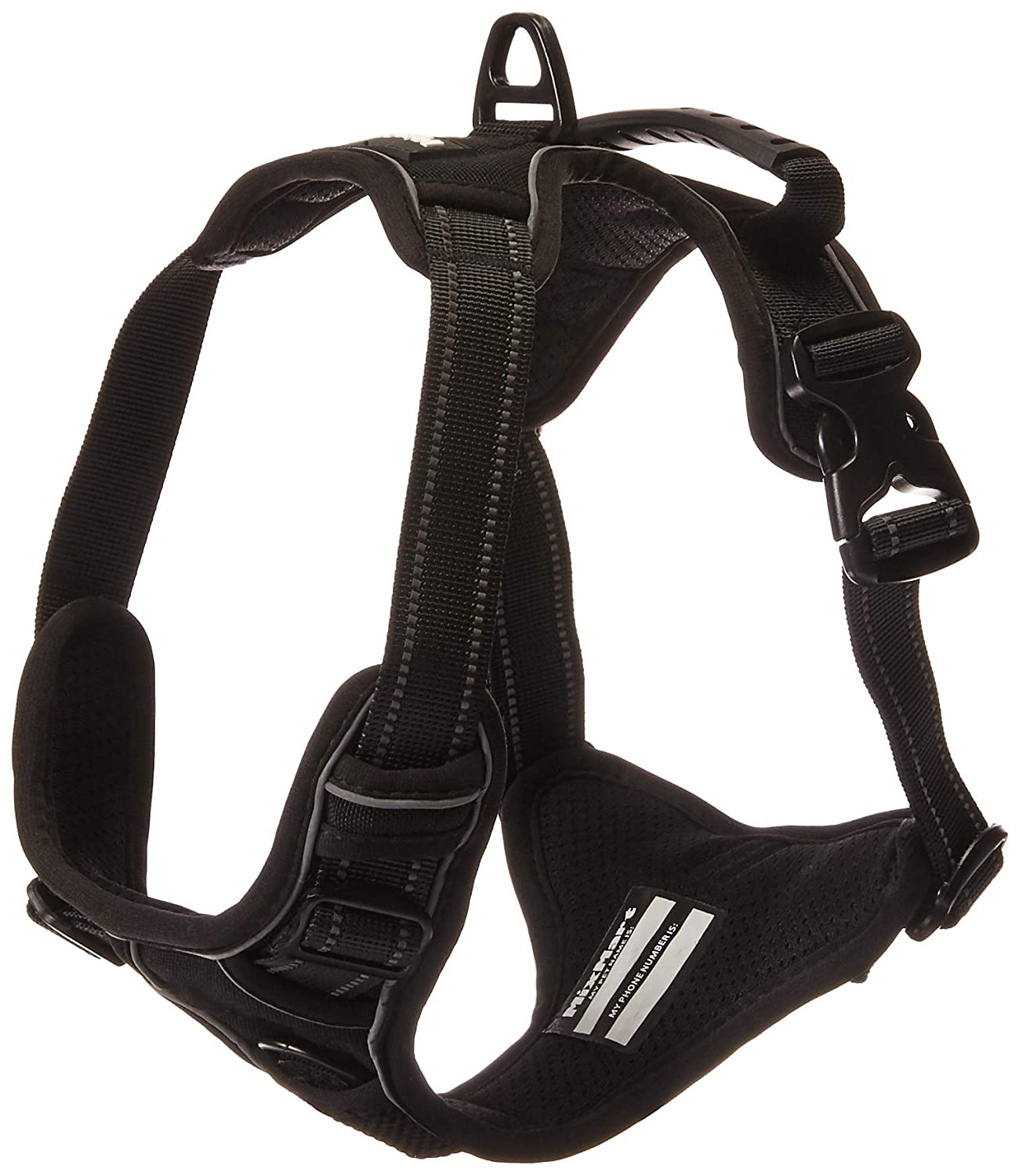 M MixMart Dog Harness, No-Pull Vest Harness 3M Reflective Pet Harness with Handle and Leash Attachments for Small Medium Large Dogs (Black)