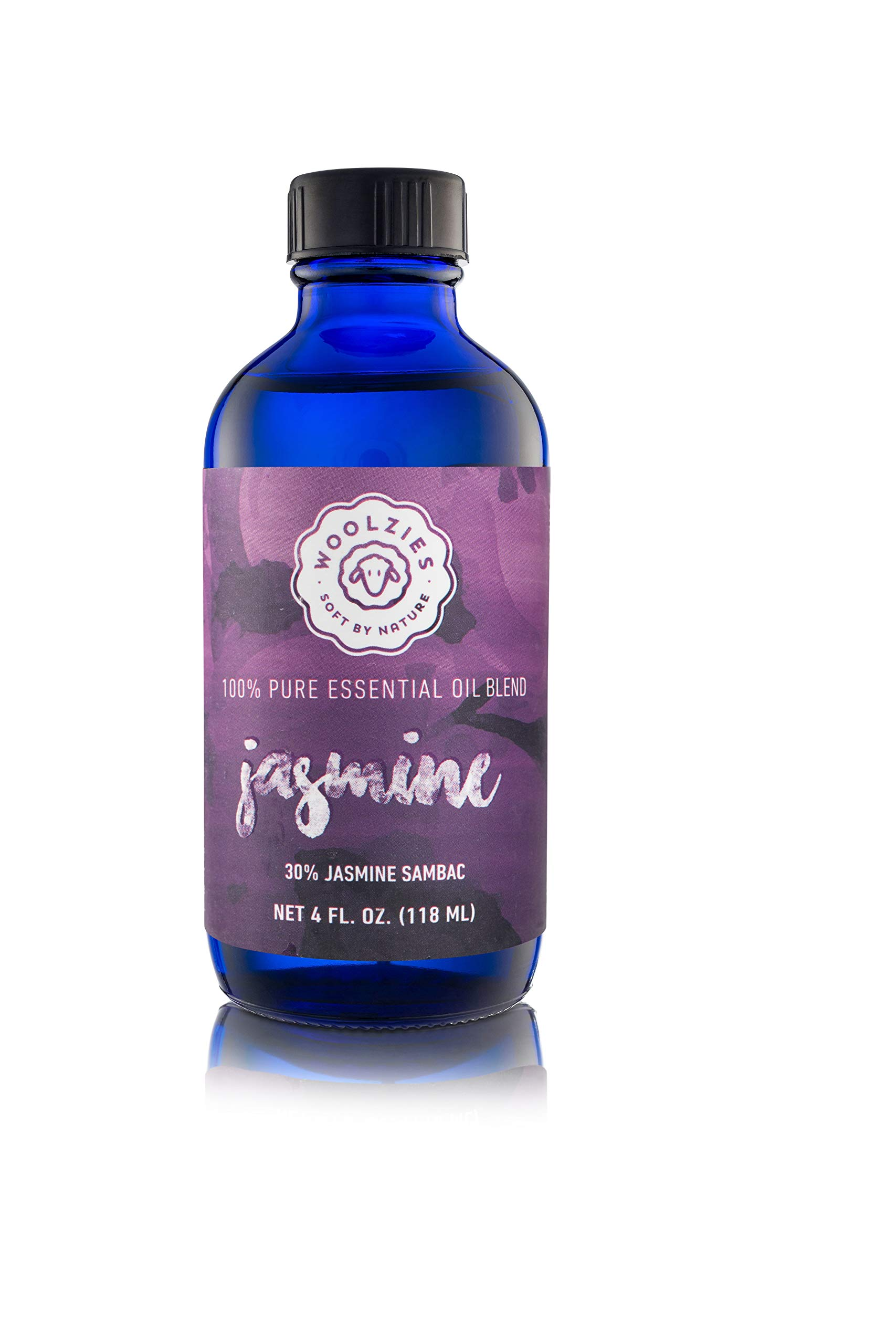 Woolzies 100% Pure Jasmine Essential Oil Blend 4oz  Cold-Pressed   Helps Be Positive Happy Relaxed Confident & Boost Mood  Enhances Sleep  Natural Therapeutic Grade   for Diffusion/Internal/Topical by Woolzies