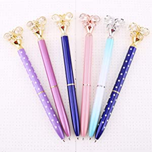 Vooteen Butterfly Ballpoint Pens, 6Pcs Crystal Metal Ballpoint Pen, Supply for Student School Office