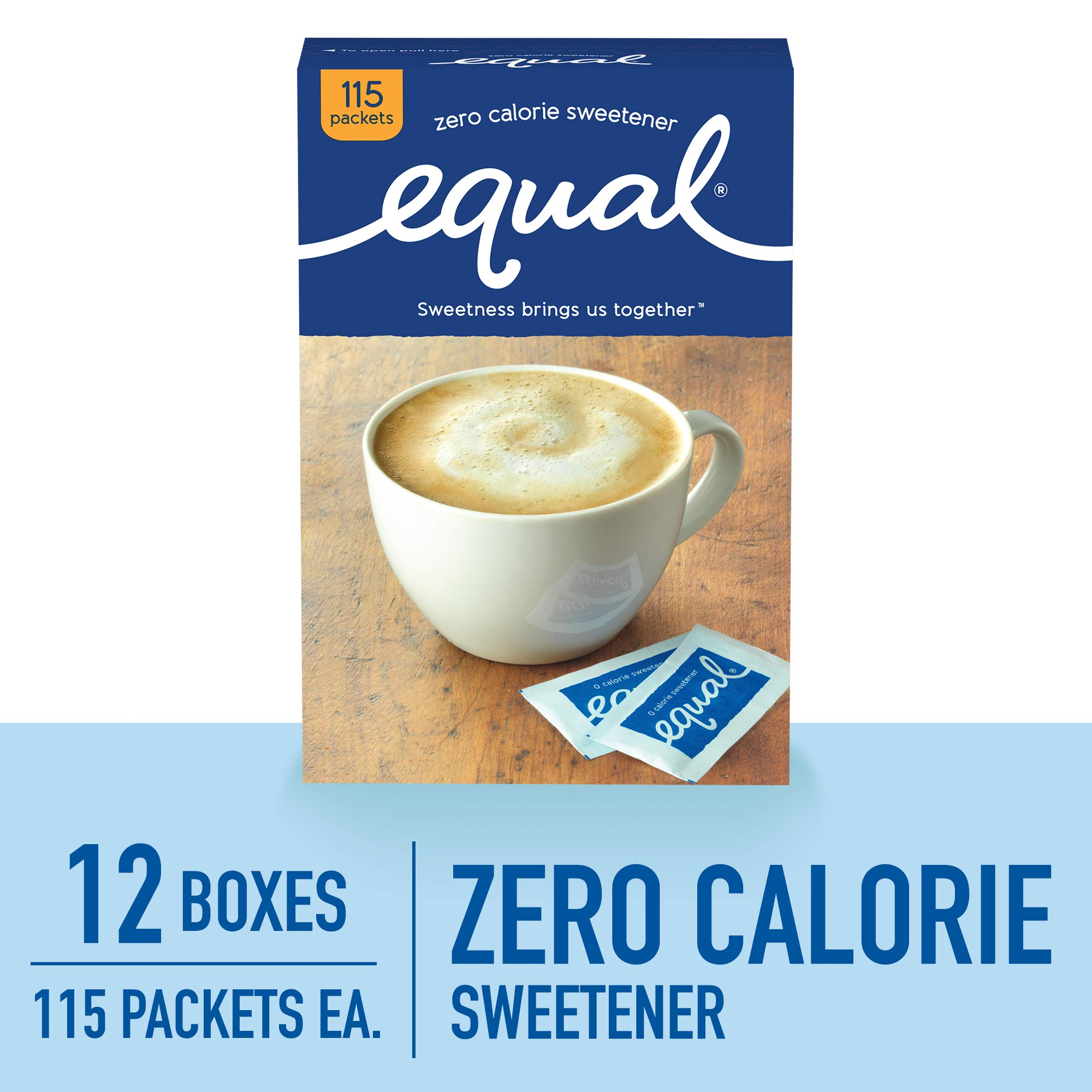 EQUAL 0 Calorie Sweetener, Sugar Substitute, Zero Calorie Sugar Alternative Sweetener Packets, Sugar Alternative, 115 Count (Pack of 12)