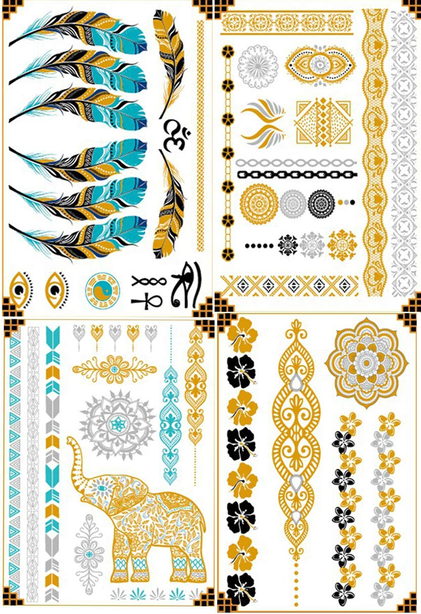 4Pcs Metallic Temporary Tattoos Waterproof Tattoo Stickers Gold Silver Tuiqroise and Black Tattoo Stickers for Women Adult Kids (style A)