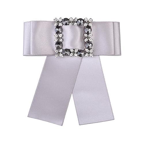 9b23bae47dd Amazon.com: OBONNIE Women's Crystal Black Satin Ribbon Bow Tie Brooch Pin Shirt  Tie Jabot Collar Neck Tie Cravat (Silver): Jewelry