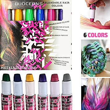 Haarkreide, Metallische Glitter Temporäre Haarkreide, mit 6 Farben ...
