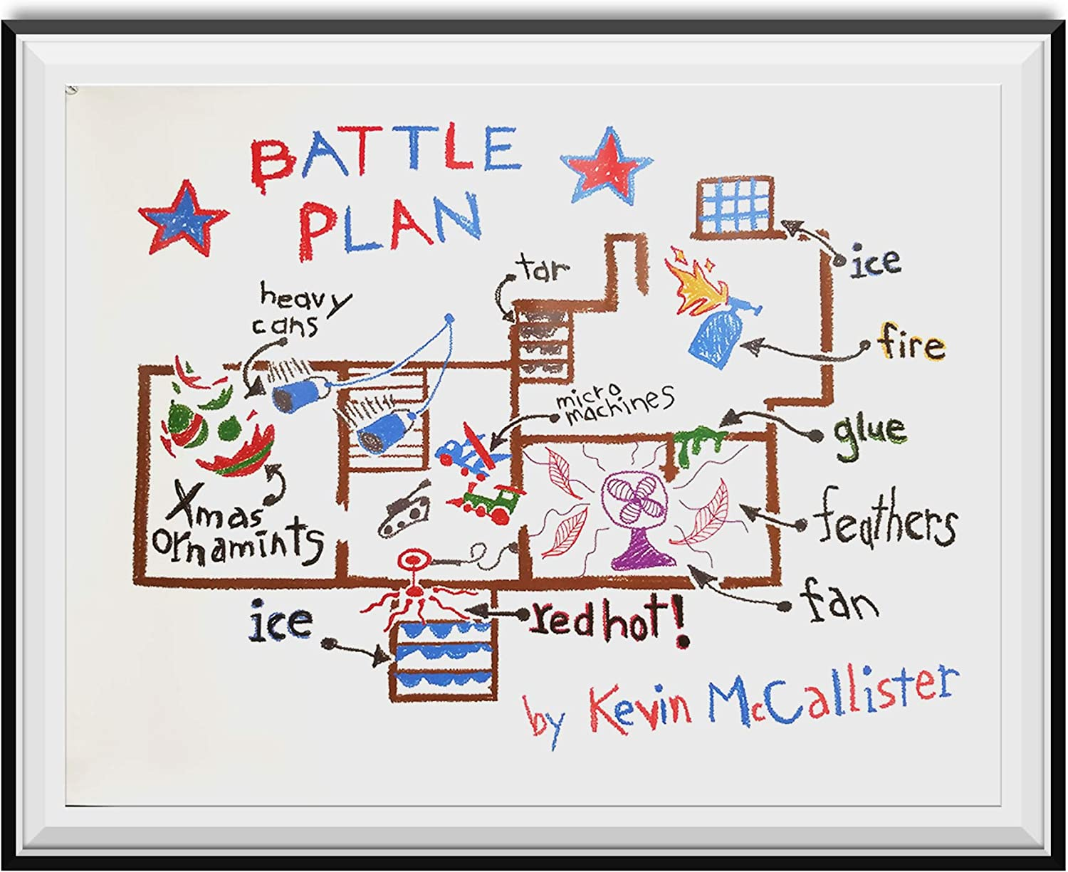 My Party Shirt Battle Plan Poster Home Alone Kevin McCallister Christmas Movie Gift Wall Map