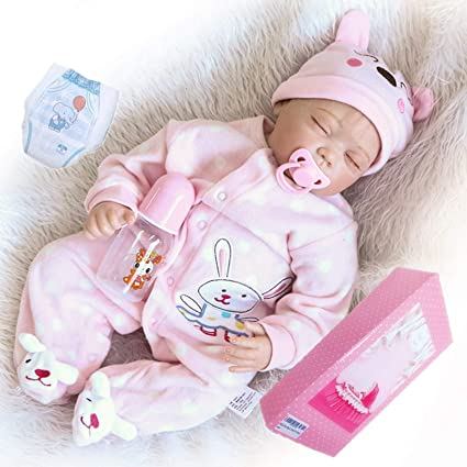 22/'/' Reborn Girl Doll Vinyl Silicone Lifelike Newborn Baby Dolls+Clothes Toys