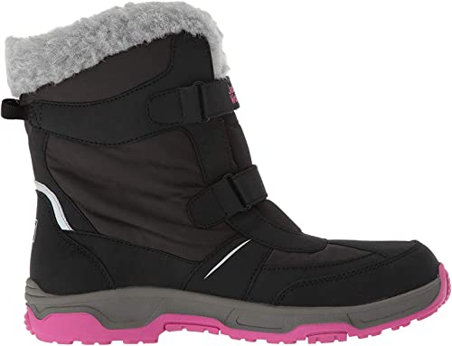 US Little Kids 1 M US Little Kid Jack Wolfskin Girls Flake Texapore Waterproof-4/°F Insulated Snow Boot with Faux Fur Black