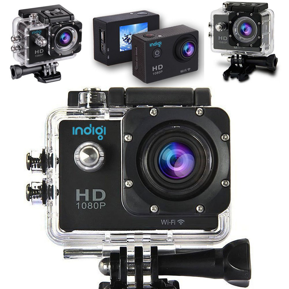 Indigi® NEW 4K & 1080p Full HD WiFi Action Sports Camera Video Recording for outdoor sports and activities, Extreme Sports , Bicycle, Skydiving, Surfing, Skateboard, Climbing, Car DVR, vehicle data recording, deep-water probing, etc