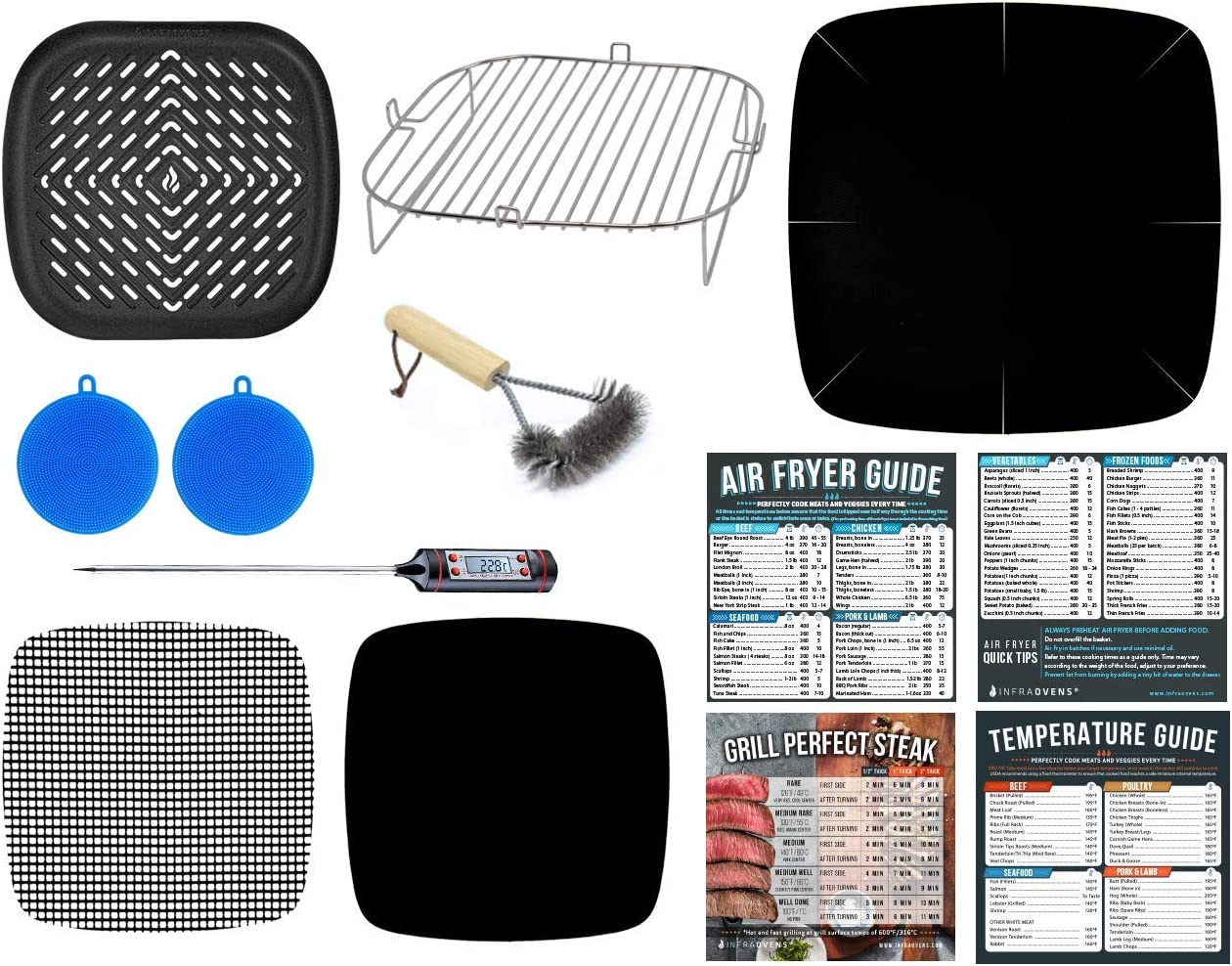 Air Fryer Rack Accessories Compatible with Paula Deen 10.5 QT, Power Airfryer Oven XL, Philips XXL, Secura, U Drive, Zokop 5.6 Quart, GoWise USA, Chefman Family Size 5.5 +More   With Cooking Guide