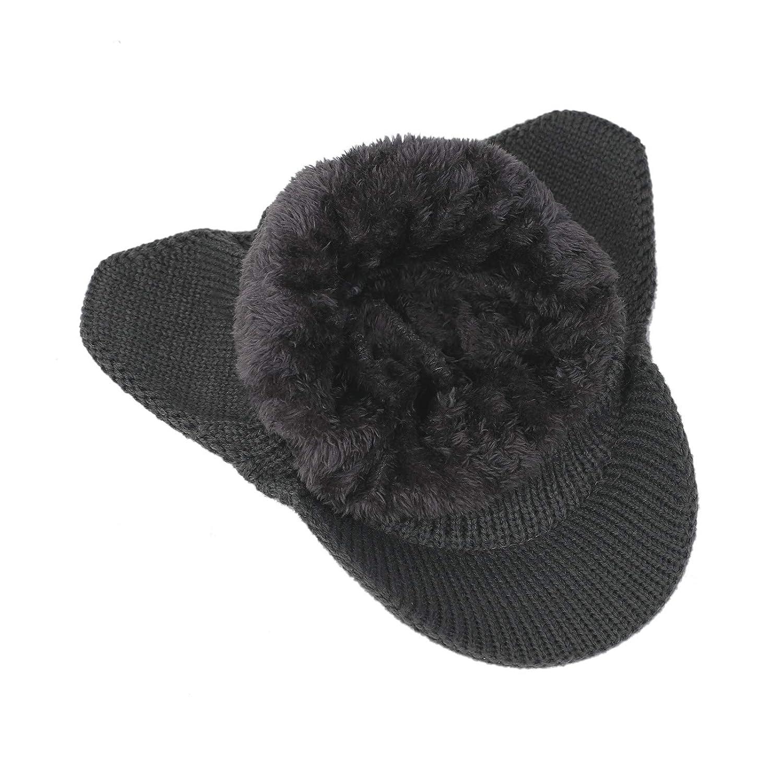 Flammi Mens Warm Knit Earflap hat with Visor Warm Lined Bill Cap Neck Gaiter Set