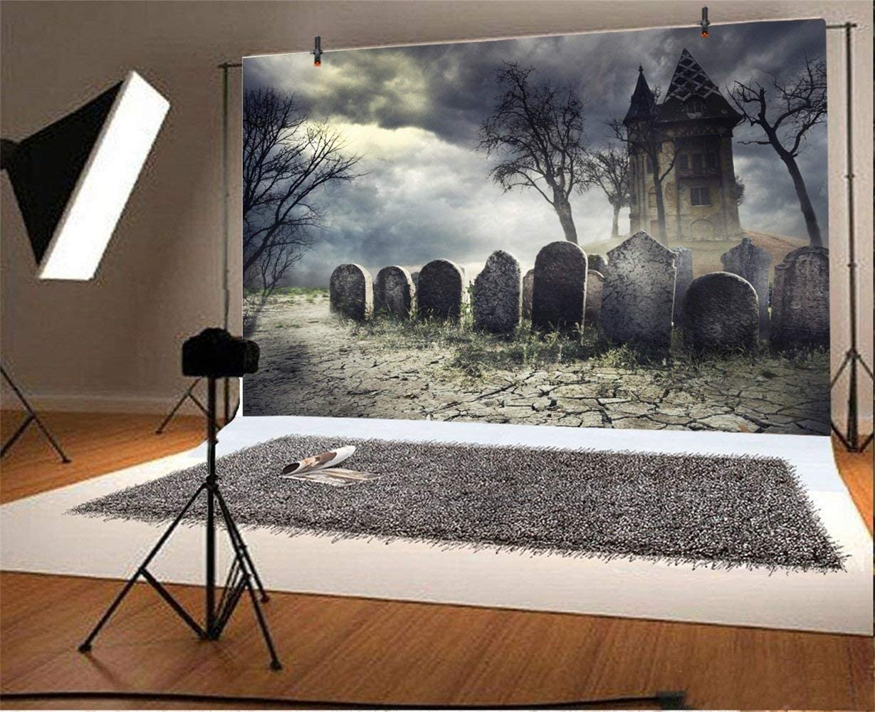 Halloween Theme Backdrop 8x6ft Polyester Photography Background Ghastly Wilderness Grinning Elvish Pumpink Lamps Haunted Graveyard Horrible Flying Bats Horror Night Trick or Treat Kids Baby Shoot