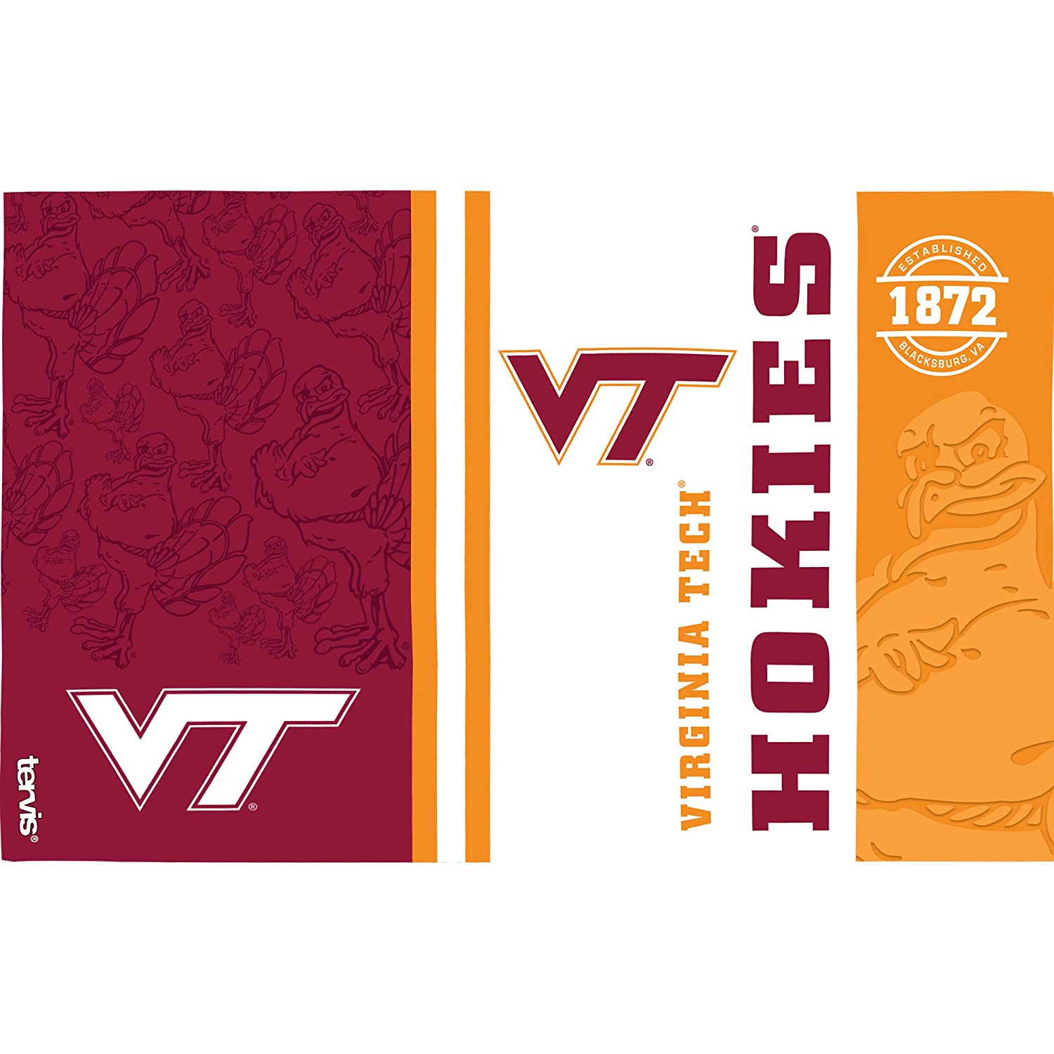 Clear Tervis 1216265 Virginia Tech Hokies College Pride Tumbler with Wrap and Maroon Lid 16oz