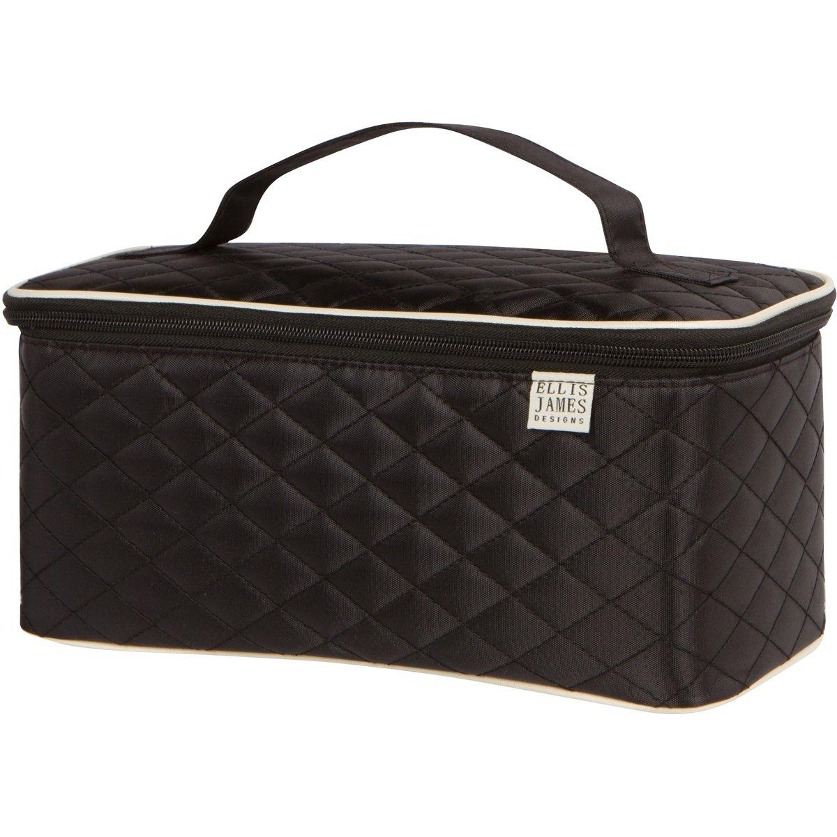 Ellis James Designs Large Travel Makeup Bag Organizer, Cosmetic Train Case Bag Toiletry Organizer (Black) with Handle & Makeup Brush Holders - Multifunctional for Professional Hair & Beauty Storage
