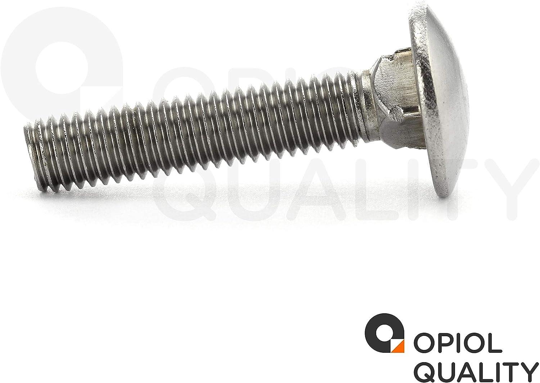Schlo/ßschrauben OPIOL QUALITY Flachrund-Schrauben mit Vierkantansatz DIN 603 50 St/ück M10x25 Edelstahl A2 V2A Schlossschrauben