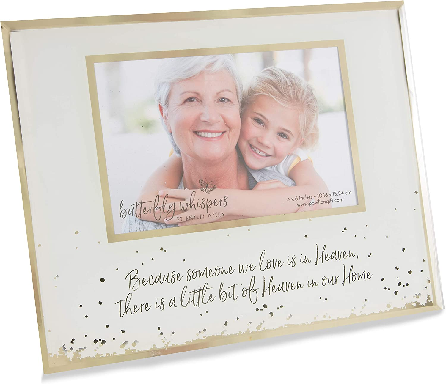 Pavilion Gift Company Pavilion-Little Bit of Heaven in Our Home-Gold & White 4x6 in Memory Picture Frame, 4x6 inch, Gold