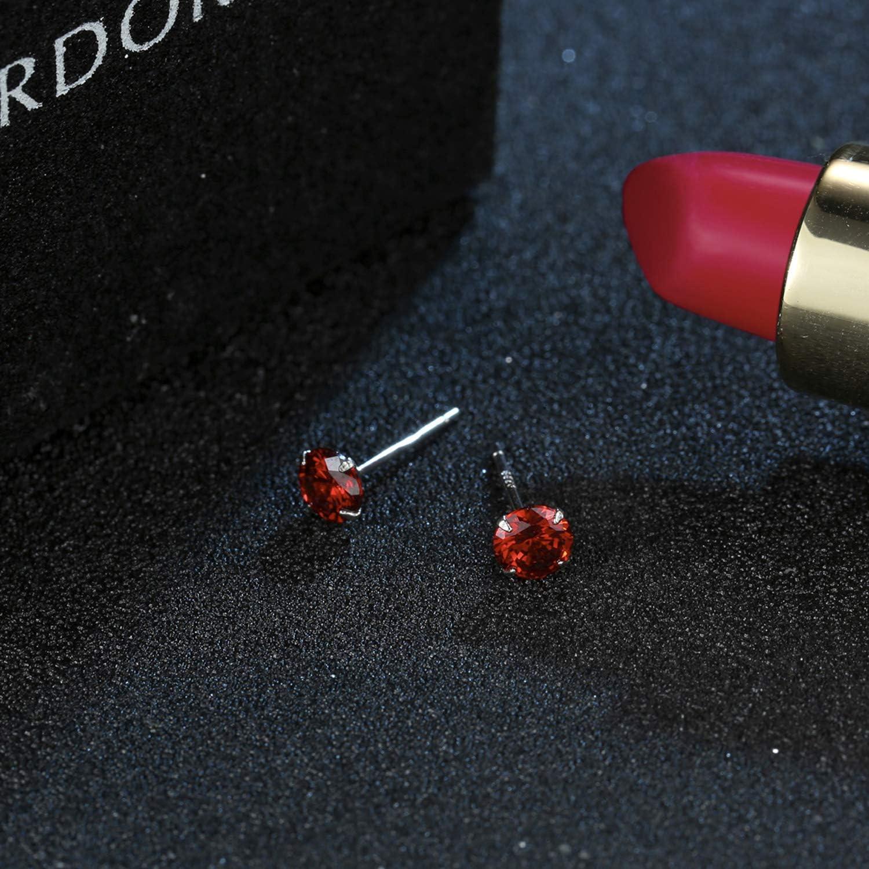 YOURDORA 3 Paia Semplice Orecchini a perno in Argento 925 con Cristalli da Swarovski Donna Gioielli set 3mm 5mm 7mm Red
