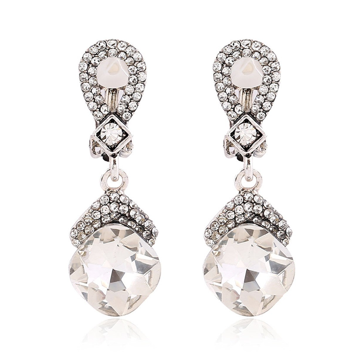 Grace Jun Vintage Silver Plated Austria Crystal Clip on Earrings No Pierced Feminine Ear Clip