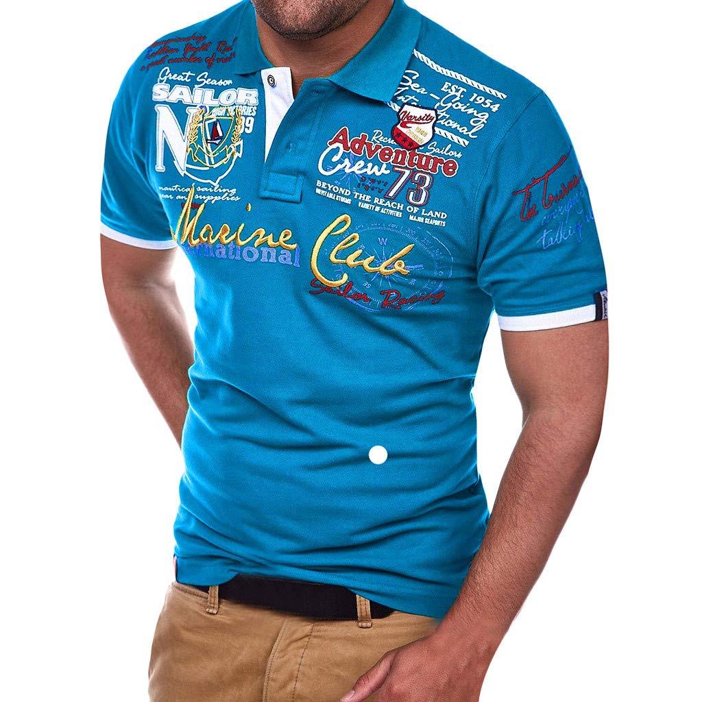 JiaMeng Camiseta para Hombre Botón de Carta Camisa de ...