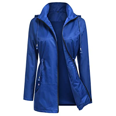 URRU Women's Lightweight Raincoats Waterproof Hoodie Outdoor Windbreaker Rain Jacket S-XXL: Clothing