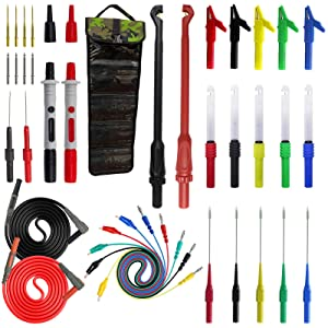 Testeronics 40-in-1 Multimeter Back Probe Test Lead and Test Probe Kit for Electronic Specialties Automotive  Wire Piercing Probe with Screw Thread   Multi-Type Back Probe Set   Alligator Clips