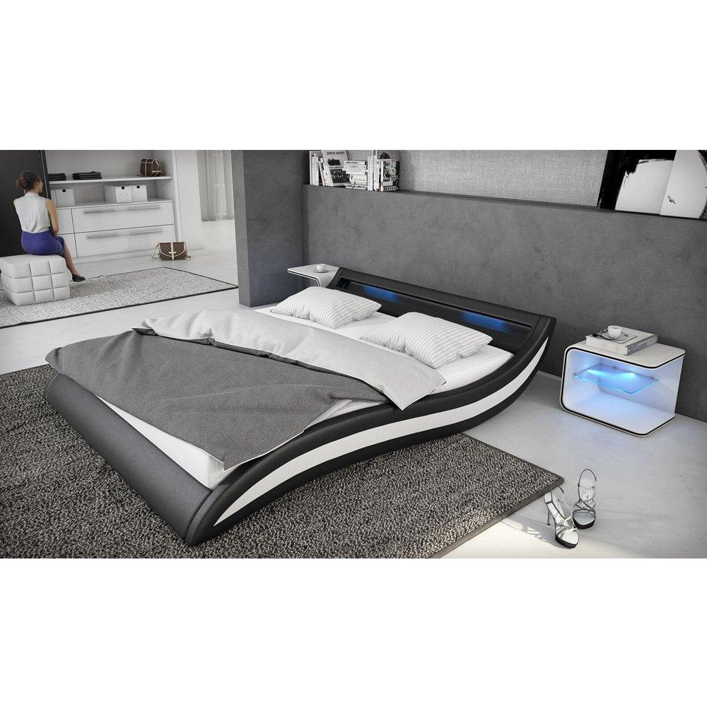 Polster bett 140x200 cm schwarz weiß aus kunstleder mit blauer led ...