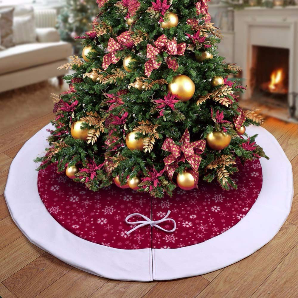 Christmas Tree Skirts 48 inch-Christmas Tree Skirts Velvet-Burgundy Traditional Red and White Snowflakes Christmas Tree Skirt-Christmas Tree Skirt Mat for Christmas Holiday Party Decoration (2) by Sky-Town (Image #1)