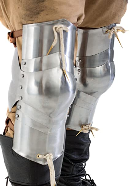 1 par Rodillera estufas, acero pulido protector para pata de combate de exhibición tauglich LARP