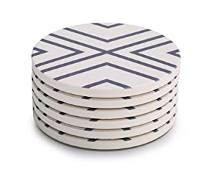 LIFVER Absorbent Stone Coasters 6-Piece Set,Drink Spills Grey-Lines