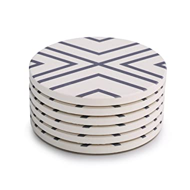 LIFVER Absorbent Stone Coasters 6-Piece Set,Drink Spills Grey-Lines