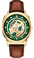 Bulova Accutron II Men's UHF Watch with Green Dial Analogue Display and Black Leather Strap