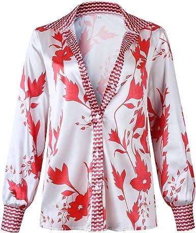 Sylar Camisas Mujer Manga Larga Camisas De Estampado para Mujer Camisas Básica Manga Larga Blusas Collar del Soporte Blusa para Mujer Otoño Primavera Camisa De Bohemia Vintage: Amazon.es: Ropa y accesorios