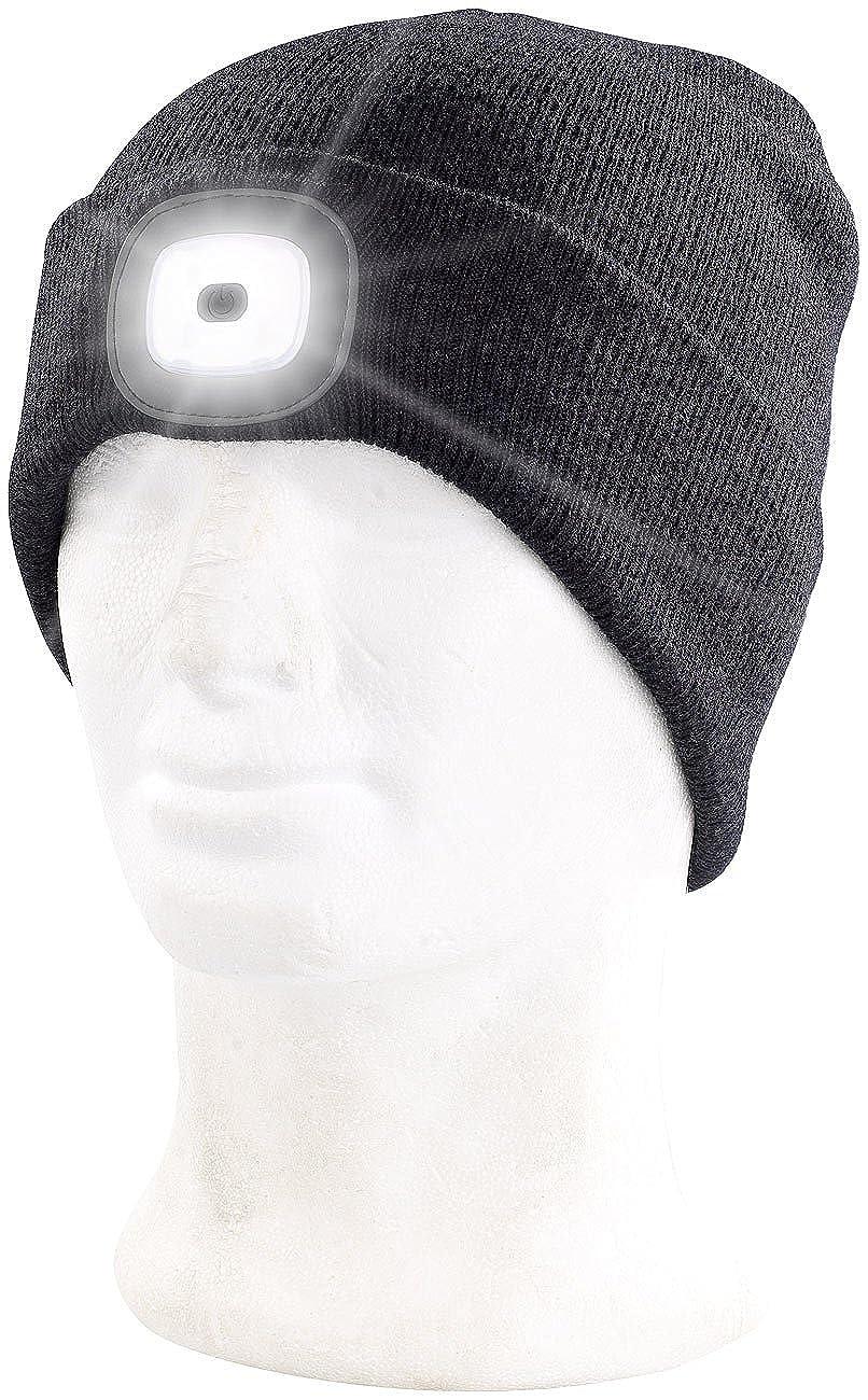 hinten vorne Mütze mit Licht: Schwarze Strickmütze mit weißen LEDs /& roten