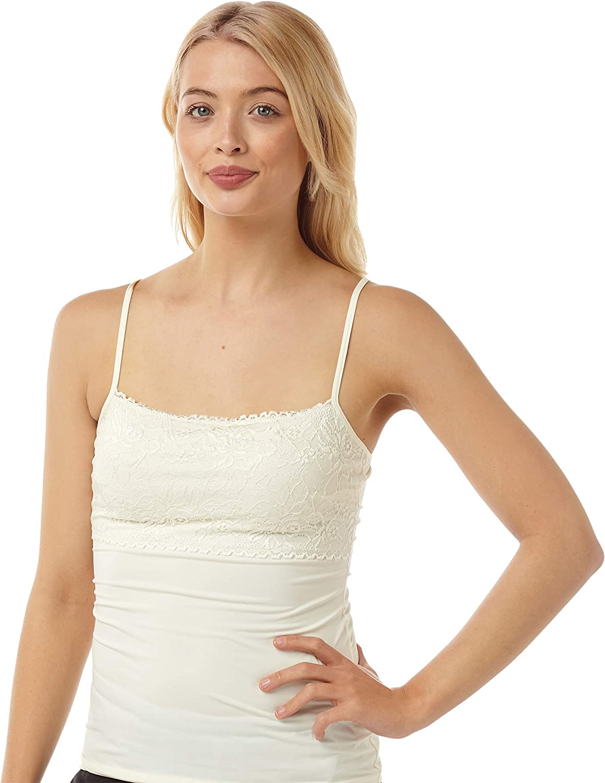 Adjustable strap Deep Lace Trim Black White Cream Camisole Top