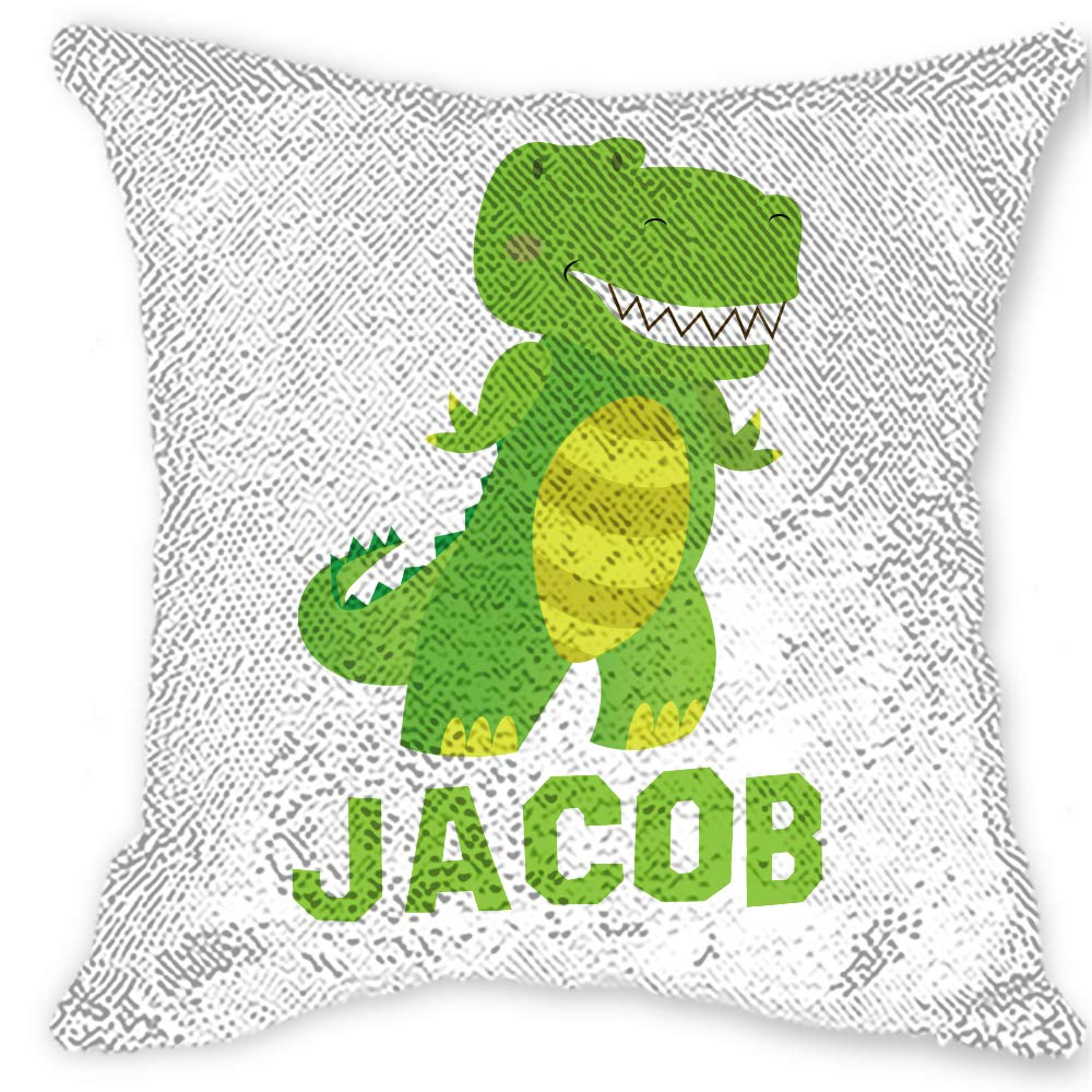 Girls Love A Monogram Personalized Reversible Sequin Pillow| Boy Dinosaur Custom Sequin Pillow| Boy Dino Sequin Pillow| Boy Dinosaur Room Decor| Boy Dino Bedding