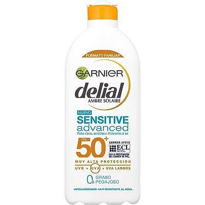 Garnier Delial Sensitive Advanced Leche Solar para Pieles Claras, Sensibles e Intolerantes al Sol, Alta Protección IP50+ - 400 ml