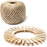 328 Feet 3mm Natural Jute Twine and 100pcs Mini Wooden Clothespins - Gift Wrap Twine String For Crafts, Picture Hanging Photo Display String With Clips