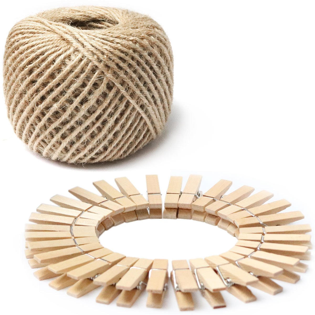 Hanging Photos 1.4 Inch Photo Paper Peg Pin Craft Clips with 320ft Natural Twine for Scrapbooking Natural Color Arts /& Crafts 100pcs Mini Natural Wooden Clothespins with Jute Twine