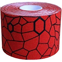 TheraBand Kinesiology Tape for Pain Relief and Joint and Muscle Support, Standard roll with XactStretch print to Eliminate Misapplication, 2 Inch x 16.4 Foot Roll, Hot Red/Black
