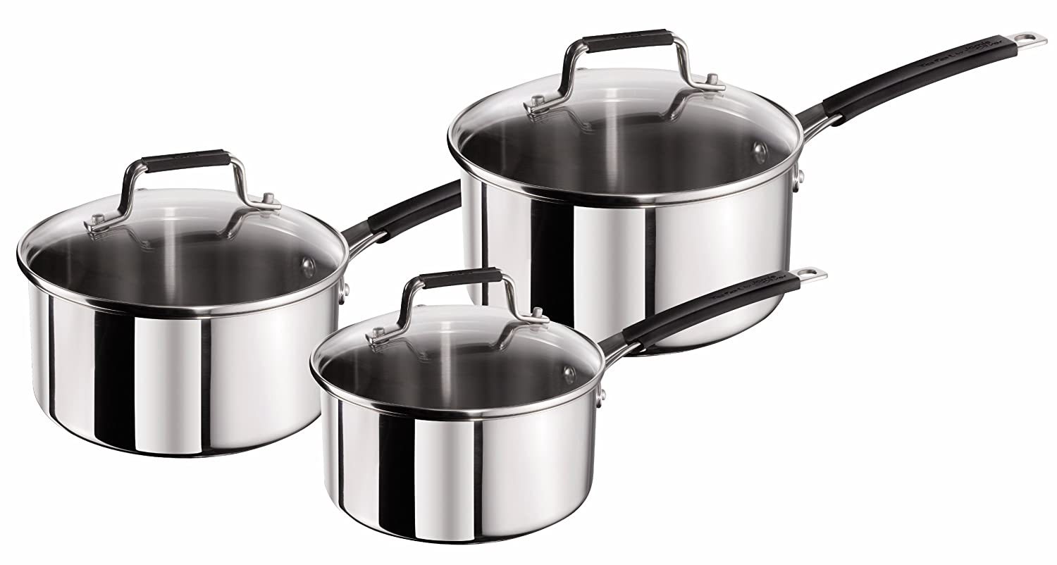 Tefal Jamie Oliver Stainless Steel Classic Series Cookware Set, 3 Pieces - Silver Groupe Seb E4369002
