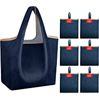 Reusable Grocery Shopping Folding Bags 50 lbs Heavy Duty Light Weight Shrink Proof Flat Bottom Fits with Purse