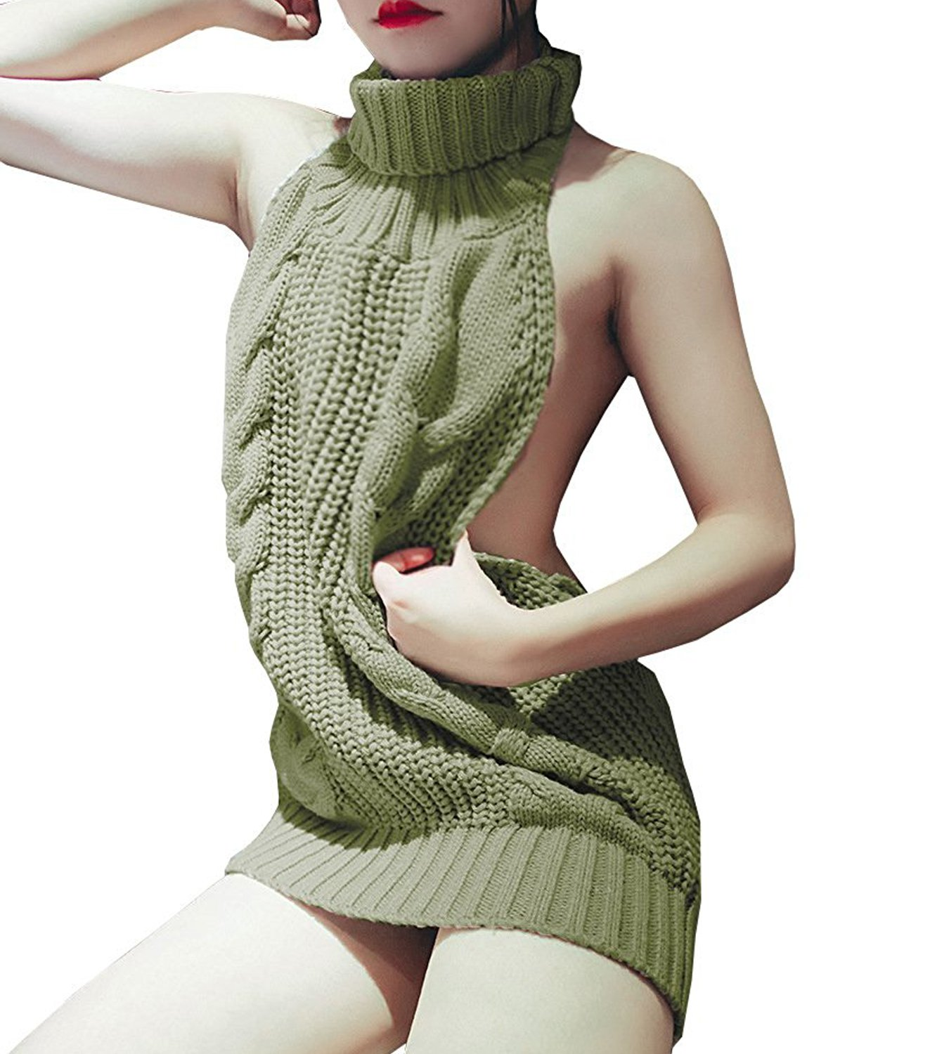 Olens Women's Women's Turtleneck Pullover Jumper Anime Cosplay Sweater Backless, Army Green, One Size