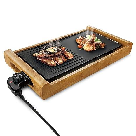 efluky Parrilla eléctrica, Plancha de Asar eléctrica, Paellera/Grill eléctrica Temperatura Ajustable,