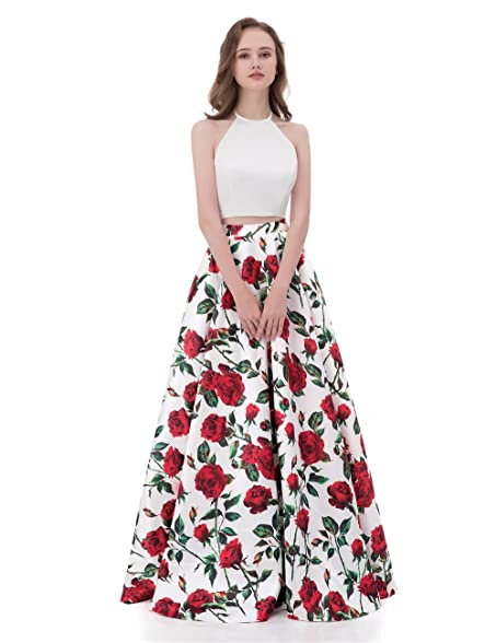 Libaosha Floral Printed Halter Ivory Top Two Pieces Evening Prom ...
