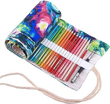 Abaría - Bolso para lápices, estuche enrollable para 48 lapices colores, portalápices de lona, bolsa organizador lápices para infantil adulto, pintura 48 (No incluyendo los lápices): Amazon.es: Electrónica