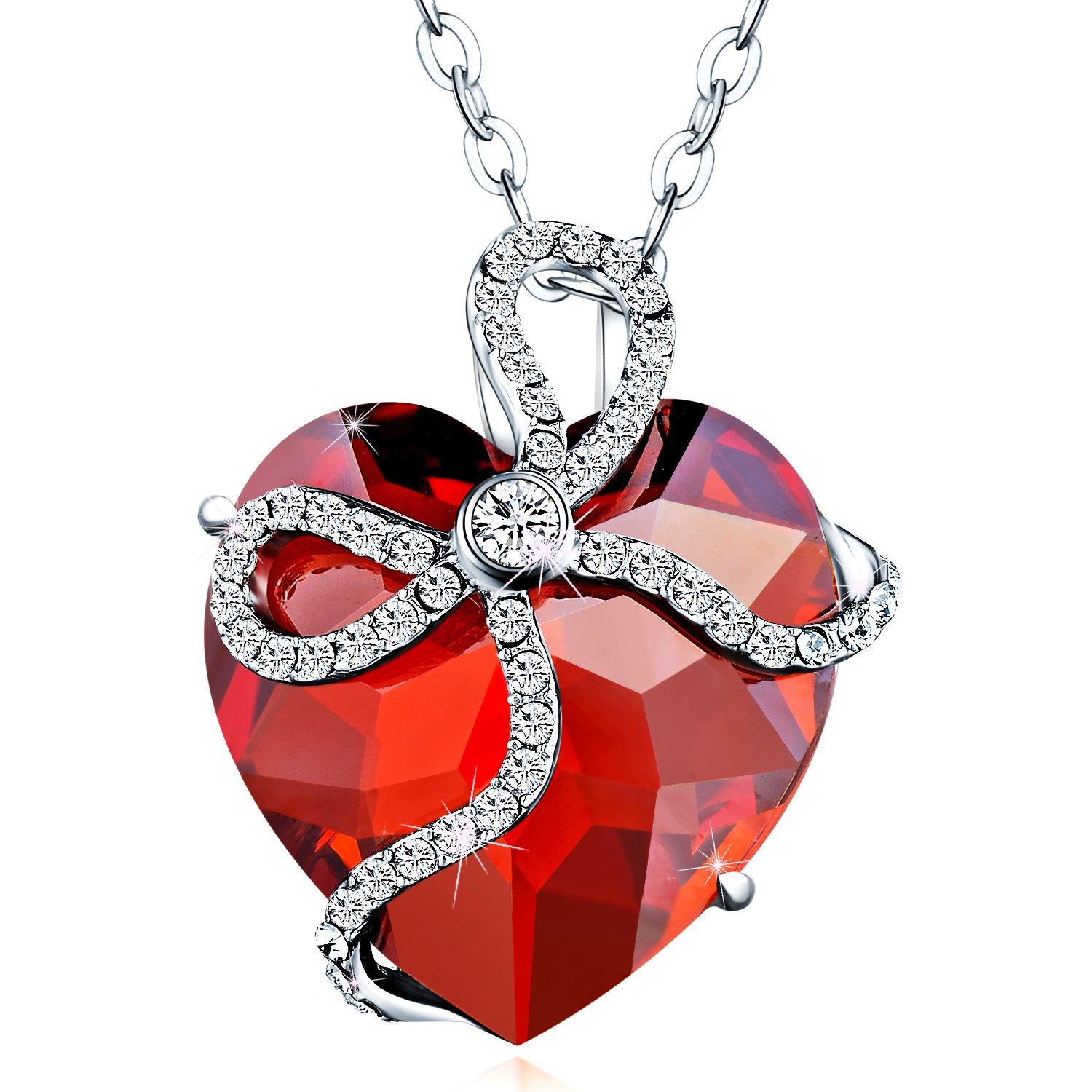 6c6048b63 Forever Crystals Sterling Silver Heart Necklace With Swarovski Crystals  Uhren & Schmuck