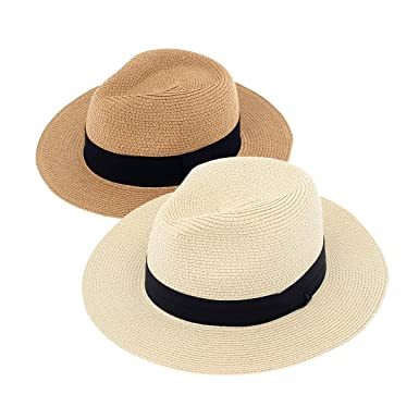 30ce516ece7 DeELF 2 Packs Beach Hats for Women Summer Straw Sun Hats Wide Brim Panama  Hats for Women, Girls and Ladies, Ivory and Tan Color