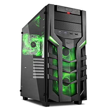 Sharkoon DG7000-G – Caja de Ordenador, PC Gaming, Semitorre ATX, Negro